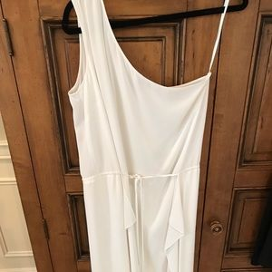 BCBG WHITE HIGH LOW DRESS ONE SHOULDER